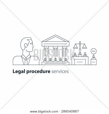 Law services and public notary concept icon set. Court house trial case. Flat design vector illustration stock photo