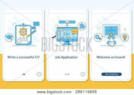 Job searching onboarding mobile app page screen with linear concepts, Write CV, apply job, interview, getting work steps graphic instructions. UX, UI, GUI vector template with illustrations stock photo
