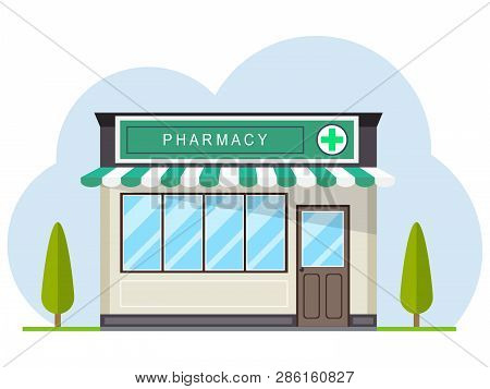 Facade Of Pharmacy Store In Urban Space. Pharmacy, Street Building Facade. Small Building With Roof,