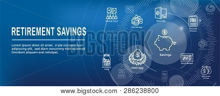 Retirement Account & Savings Icon Set Web Header Banner - Mutual Fund, Roth IRA, etc stock photo