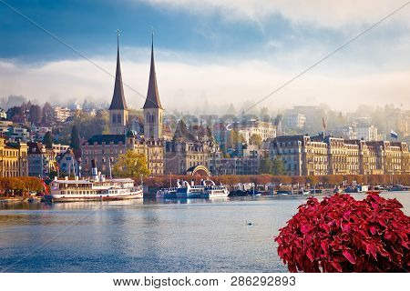 Idyllic Swiss town and lake Lucerne waterfront view, landscapes of Switzerland stock photo