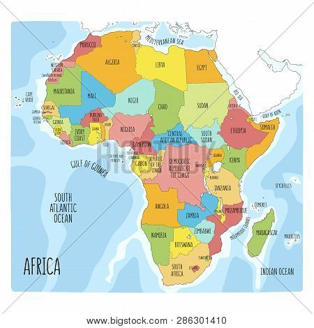 Vector political map of Africa. Colorful hand drawn illustration of the African continent with labels in English stock photo
