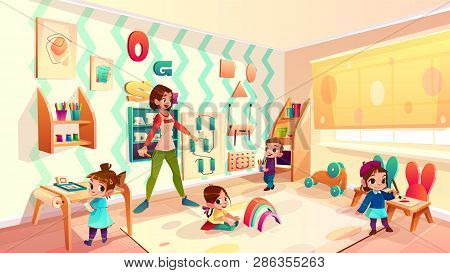 Female preschool nursery nurse, kindergarten teacher playing with children in modern, equipped classroom cartoon vector illustration. Montessori school, early childhood education service concept stock photo