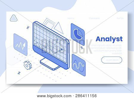 Digital isometric design concept set of 3d icons for internet analyst app.Isometric financial business analysis infographics,graphs,cogwheel icon,diagram on landing page banner web online concept stock photo