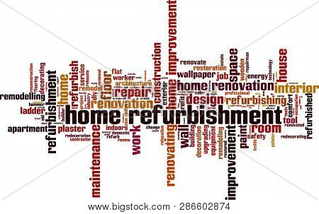 Home refurbishment word cloud concept. Vector illustration on white stock photo