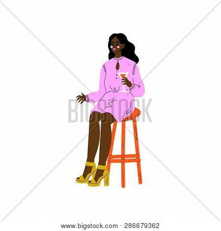Young African American Woman Sitting on Bar Chair with Glass of Alcohol Drink Vector Illustration stock photo
