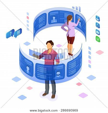 Isometric job agency employment, human resources, resume and hiring concept. Resume on flexible transparent screen. applicants post resume. isolated vector illustration stock photo
