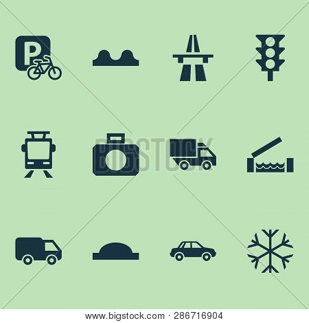 Transport icons set with start of motorway, river, bumpy and other van elements. Isolated vector illustration transport icons. stock photo