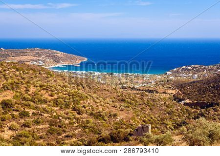 The seaside village of Platis Gialos situated at the south side of Sifnos. Cyclades, Greece stock photo