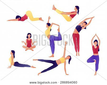 Yoga workout girl set. Women doing yoga exercises. Can be used for poster, banner, flyer, card, website. Warming up, stretching. Vector illustration. Red, yellow, violet. stock photo