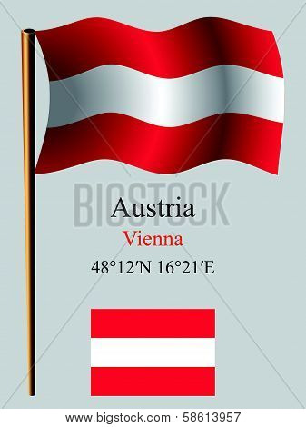 austria wavy flag and coordinates against gray background vector art illustration image contains transparency stock photo
