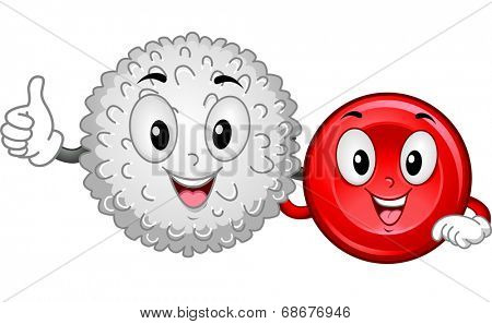 Mascot Illustration Featuring a White Blood Cell and a Red Blood Cell Hanging Together stock photo