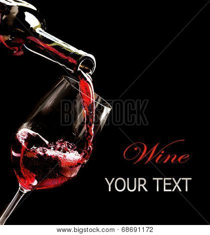 Wine. Red wine pouring into wine glass from the bottle. Isolated on black background. Art border des-Mini Fridge Magnet Skin (size 20x31)