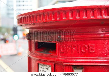 a typical london red letter box . stock photo