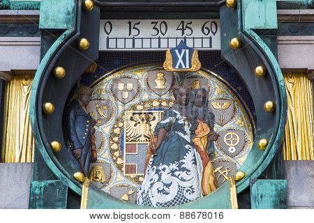 Jugendstil Ankeruhr Vienna Clock at Hoher Markt. At 12 o'clock noon the parade of the figures with musical accompaniment takes place stock photo