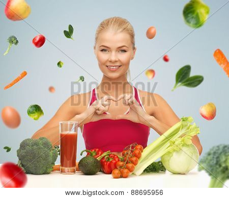 people, healthy eating, vegetarian and health care concept - happy woman with organic food and falli