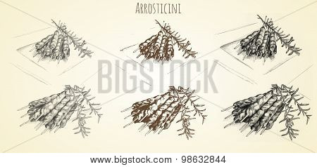 arrosticini meat cooking and rosmary hand drawn stock photo