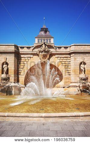 Fountain At Haken Terraces In Szczecin, Poland.