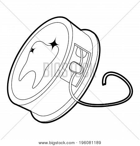 Dental floss icon in outline style isolated on white vector illustration stock photo