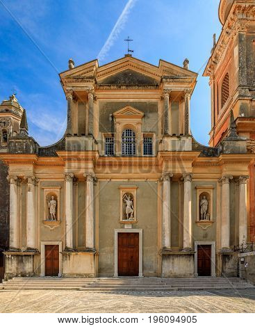 Old cathedral Basilica Saint Michel in a town of Menton in the French Riviera stock photo