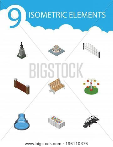 Isometric Architecture Set Of Garden Decor, Flower Decoration, Plants And Other Vector Objects