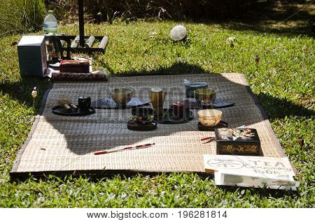 People prepare and making sado chanoyu or Japanese tea ceremony also called the Way of tea at outdoor on January 29 2017 in Nakhon Ratchasima Thailand stock photo