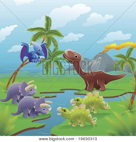 Cute dinosaurs in prehistoric scene. Series of three illustrations that can be used separately or side by side to form panoramic landscape. stock photo
