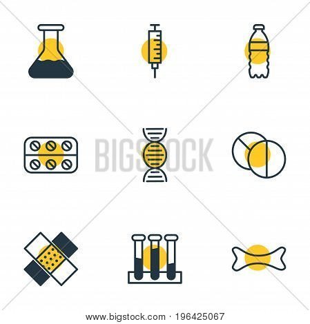 Editable Pack Of Patch, Osseous, Round Tablet And Other Elements. Vector Illustration Of 9 Health Icons. stock photo