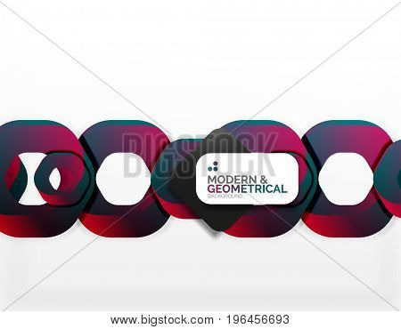 Geometric abstract background, cut chain shapes or hexagons on white. illustration stock photo