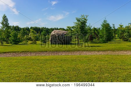 Scenery of stones in Koknese in the park Garden of Destinies in Latvia. July 2017. stock photo