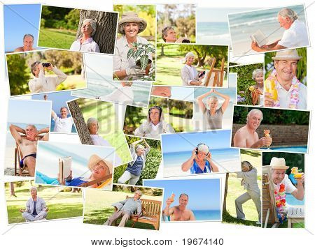 Group of elderly smiling people relaxing alone outdoors stock photo