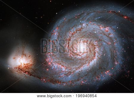 Whirlpool Galaxy. Spiral galaxy M51 or NGC 5194 Elements of this image are furnished by NASA. stock photo