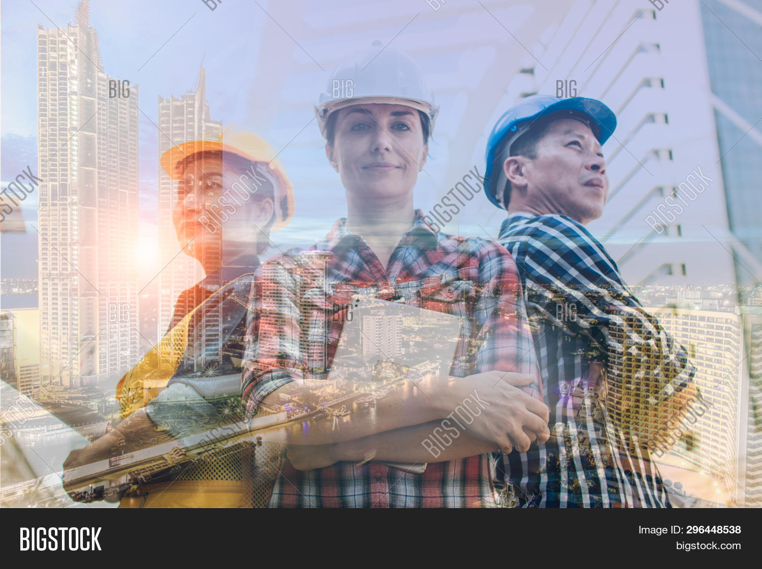 Double Exposure Engineering And Construction Concept. Industrial Engineer Wear Safety Helmet Enginee