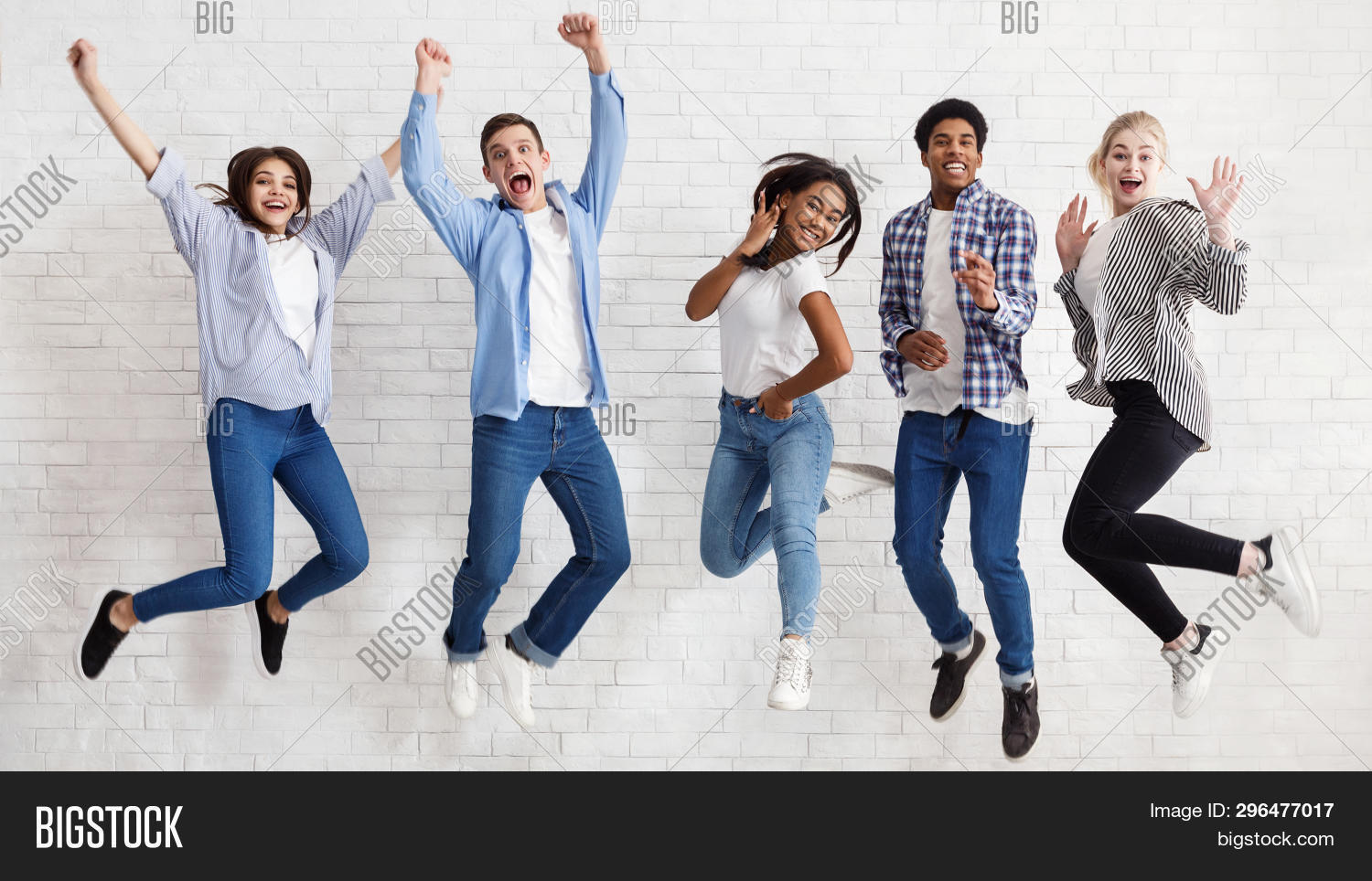 Happy Students Jumping On White Background, Passed Exams And Having Fun