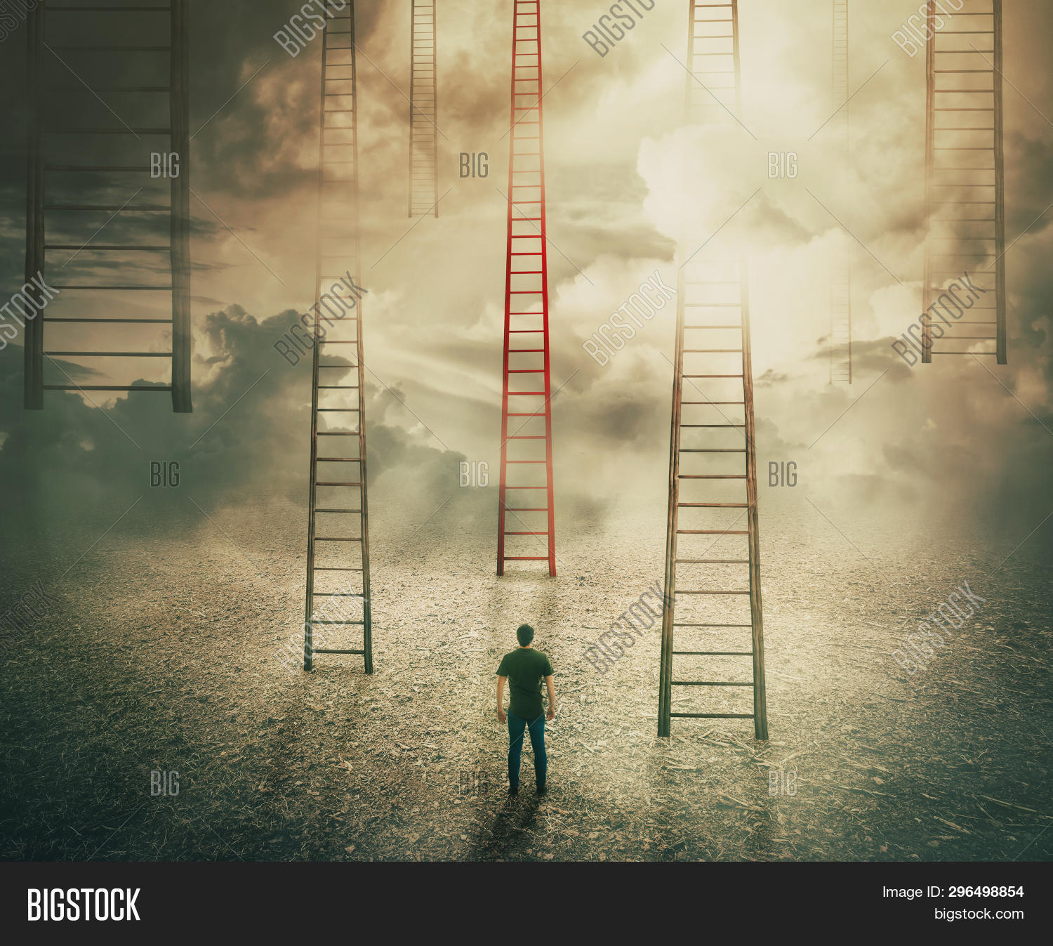 Man Standing In Front Of Huge Ladders Going Up To The Sky. Choosing A Different Red Stairway To Unkn