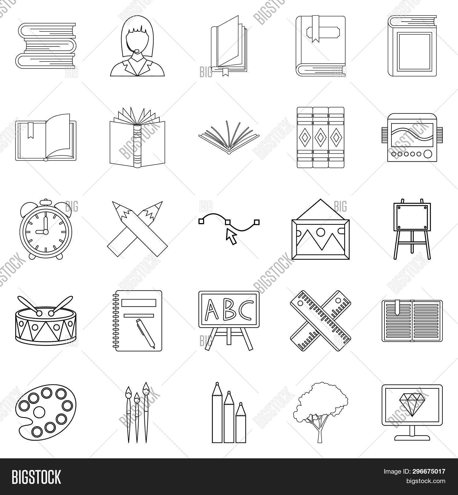Effective Learning Icons Set. Outline Set Of 25 Effective Learning Icons For Web Isolated On White B