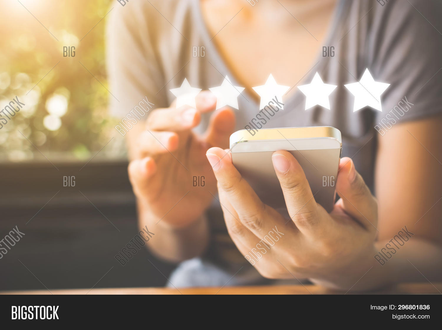 Customer Service Experience And Business Satisfaction Survey. Woman Hand Using Smart Phone With Icon