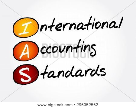 IAS - International Accounting Standards acronym, business concept background stock photo
