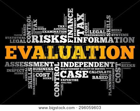 Evaluation word cloud collage, business concept background stock photo