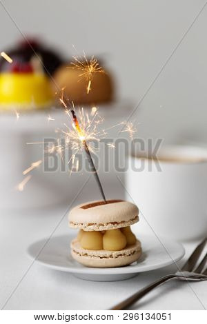 Celebration afternoon tea with sparkler stock photo