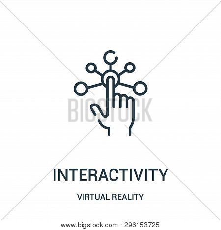 interactivity icon isolated on white background from virtual reality collection. interactivity icon trendy and modern interactivity symbol for logo, web, app, UI. interactivity icon simple sign. interactivity icon flat vector illustration for graphic and  stock photo