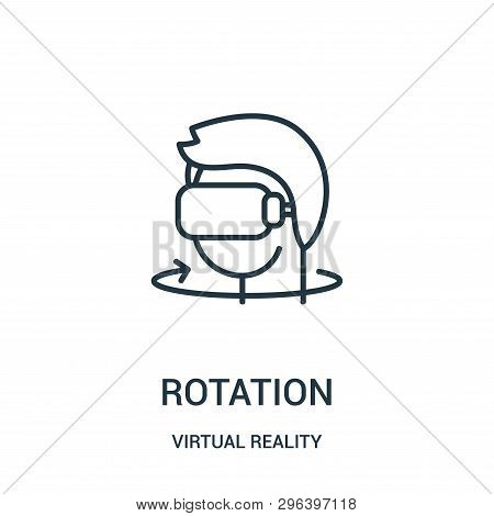 rotation icon isolated on white background from virtual reality collection. rotation icon trendy and modern rotation symbol for logo, web, app, UI. rotation icon simple sign. rotation icon flat vector illustration for graphic and web design. stock photo