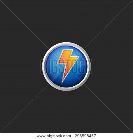 Lightning logo 3d round glass button icon battery charge symbol stock photo