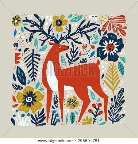 Deer vector hand drawn illustration. Wild animal with antlers drawing in scandinavian style. Cute cartoon reindeer character poster. Multicolor leaves and flowers. Floral flat background stock photo