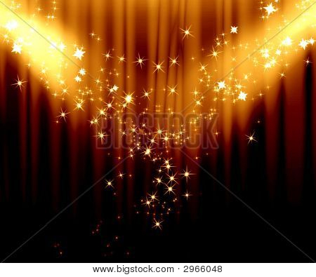 Movie or theatre curtain with addes spotlights stock photo