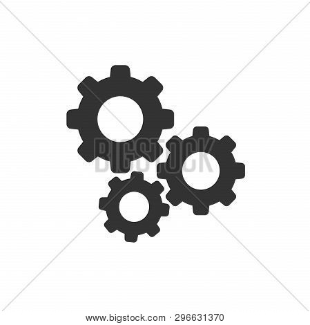 Gear vector icon in flat style. Cog wheel illustration on white background. Gearwheel cogwheel business concept. stock photo