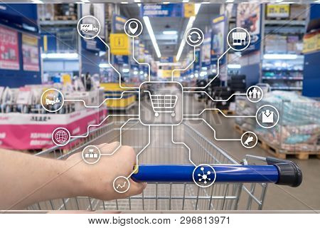 Retail marketing channels E-commerce Shopping automation concept on blurred supermarket background. stock photo