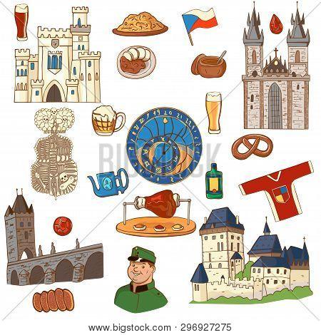 Czech Republic symbol. Set of icons and symbols Czech Republic stock photo