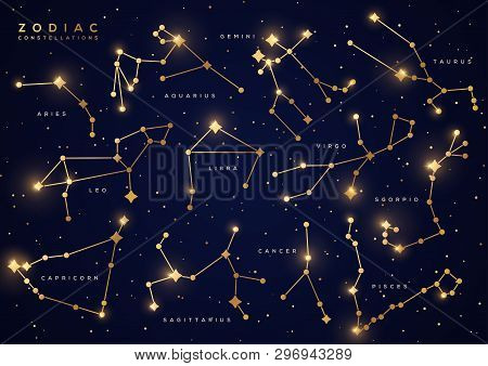 Zodiac Constellations With Names Vector Illustrations Set. Astrological Symbols With Golden Gradient