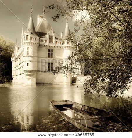 Azey-le-redeau castle - sepia toned picture from my castle collection